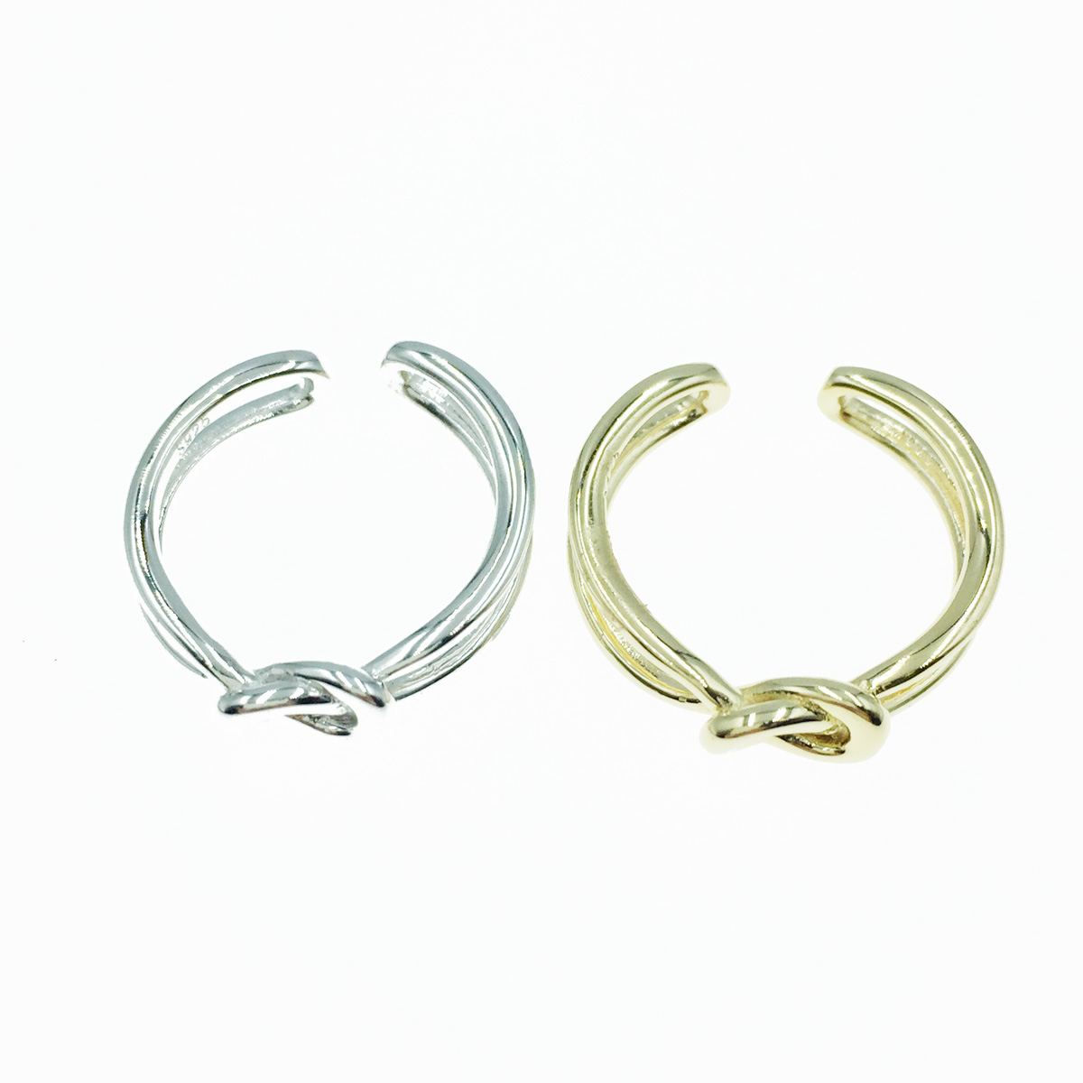 韓國 925純銀 簍空 扭結造型 歐美金屬風 2色 可調式 戒指