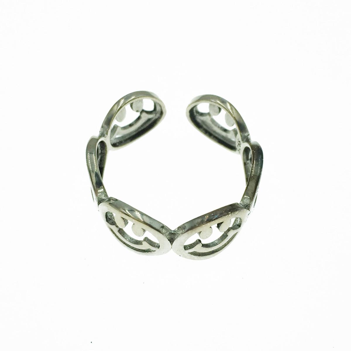 韓國 925純銀 簍空 微笑笑臉 金屬 可調式 戒指