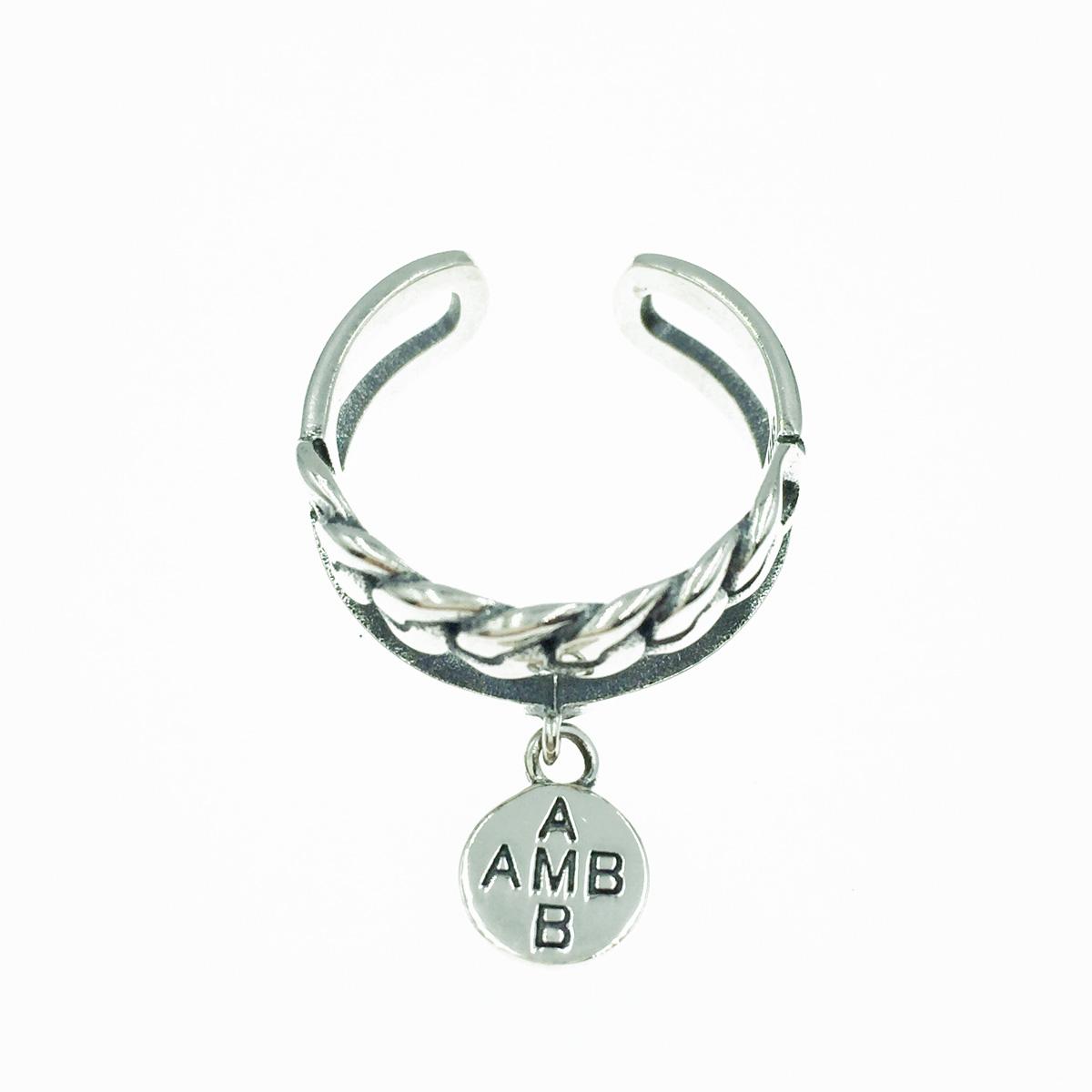 韓國 925純銀 簍空 麻花 垂墜金屬吊牌 寬版 可調式 戒指