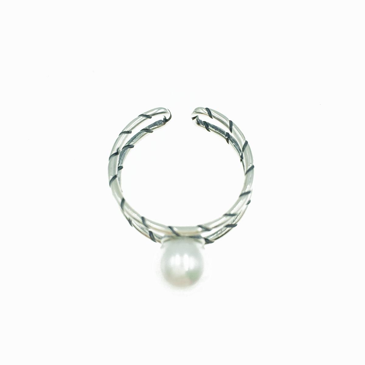 韓國 925純銀 珍珠造型 簍空雙環 可調式 戒指