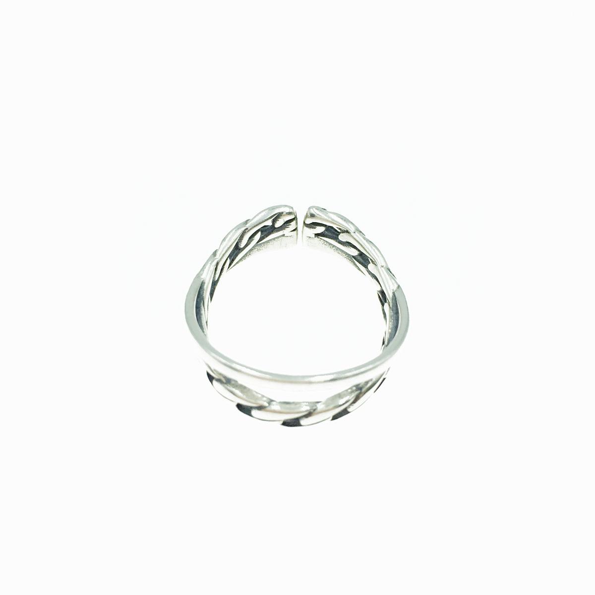 韓國 925純銀 交錯 歐美金屬 個性款 可調式 戒指