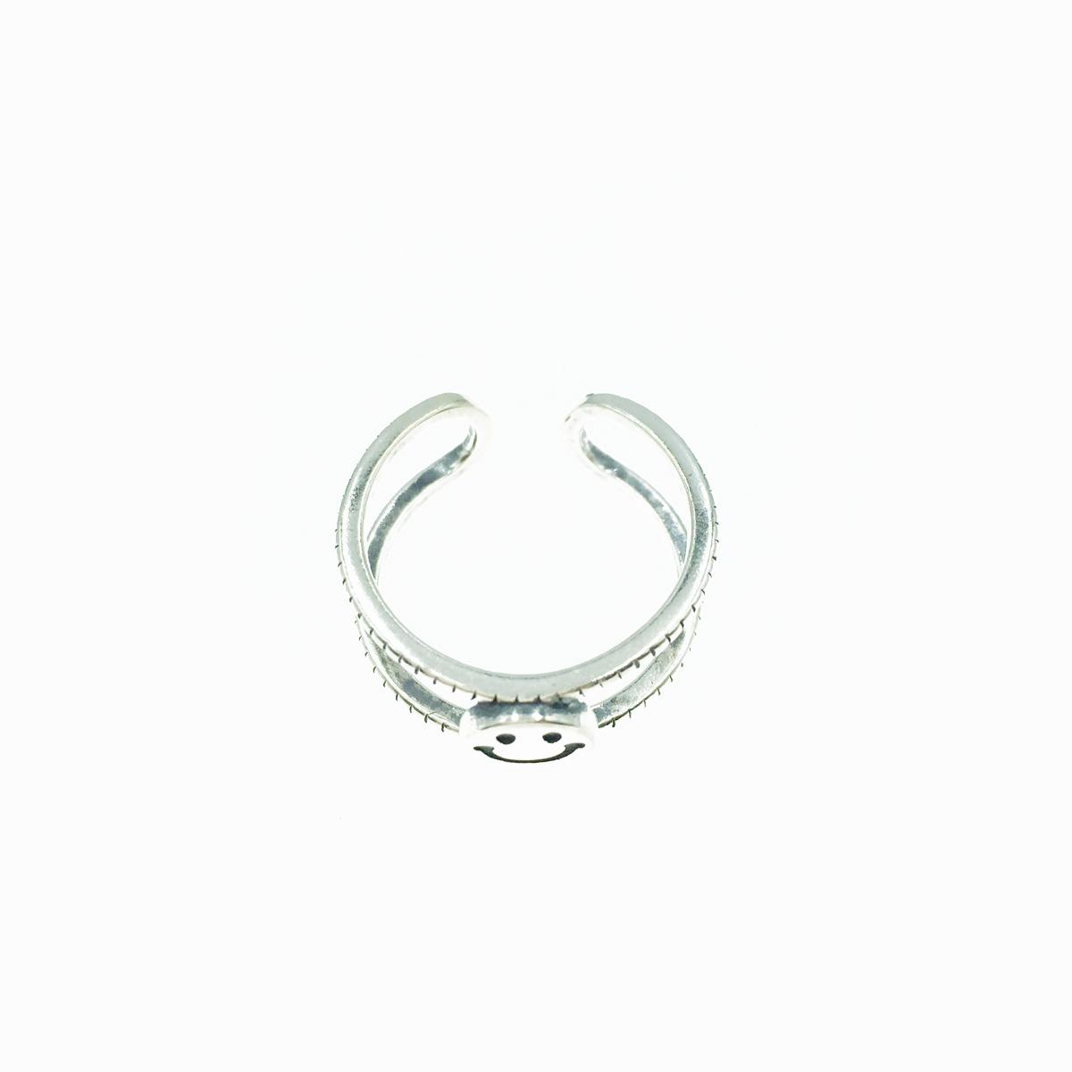 韓國 925純銀 雙環簍空 笑臉 寬版 可調式 戒指