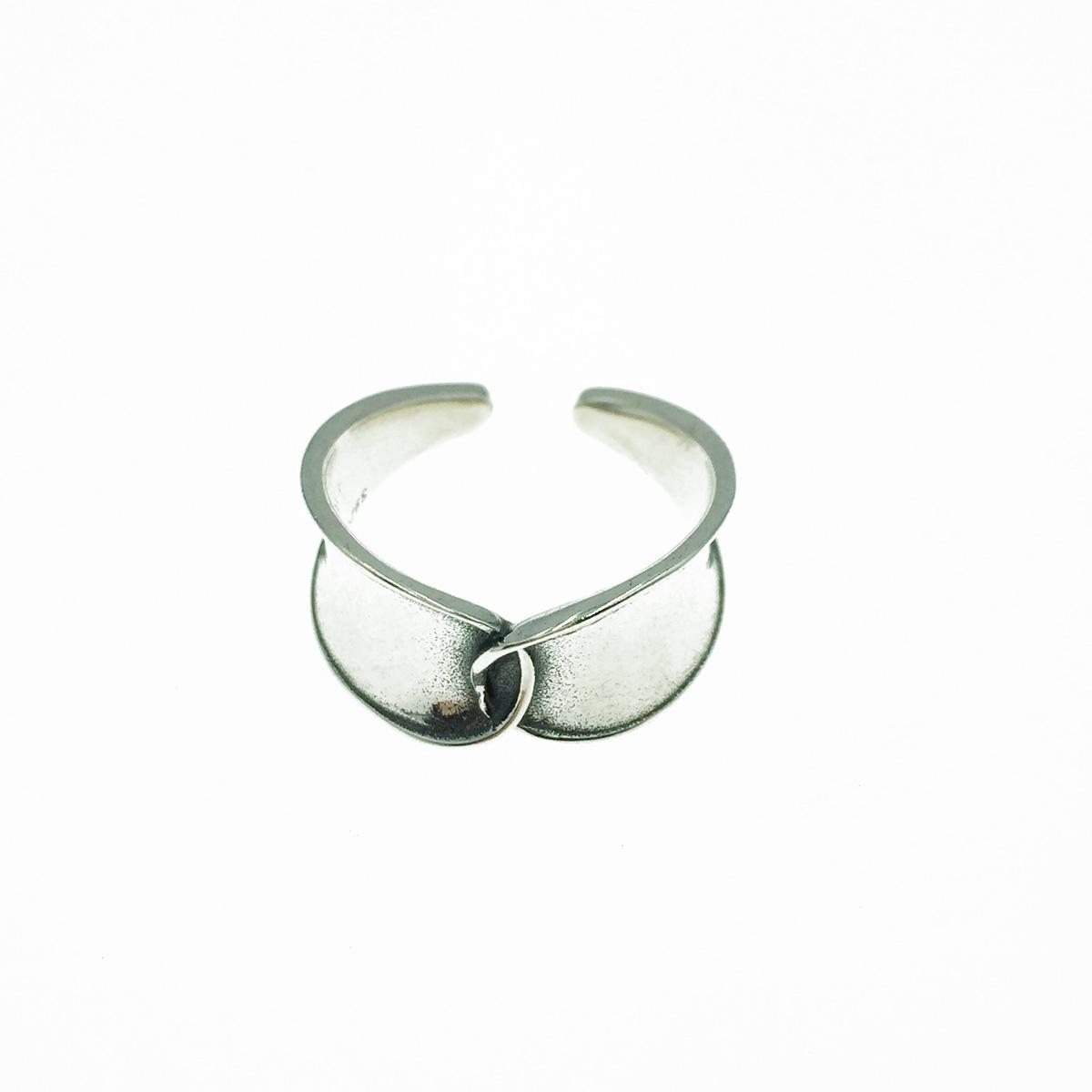 韓國 925純銀 光滑金屬面 重疊 寬版 個性款 可調式 戒指