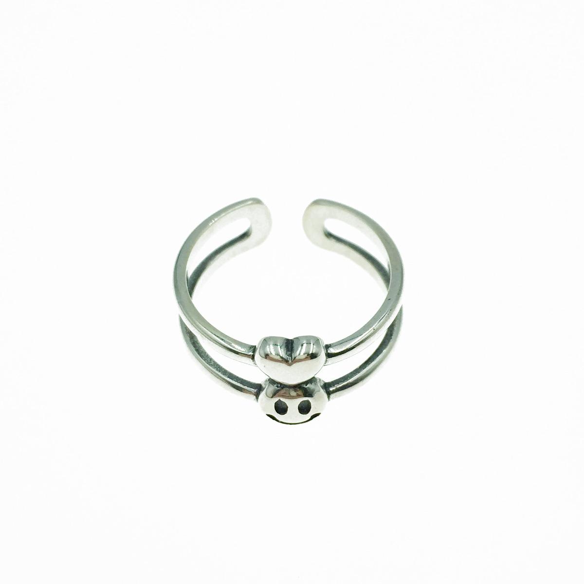 韓國 925純銀 簍空雙環 愛心 笑臉 金屬 可調式 戒指