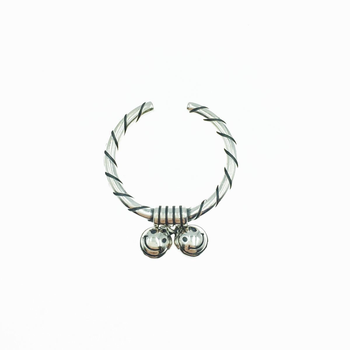 韓國 925純銀 笑臉 鈴鐺 垂墜 可調式 戒指