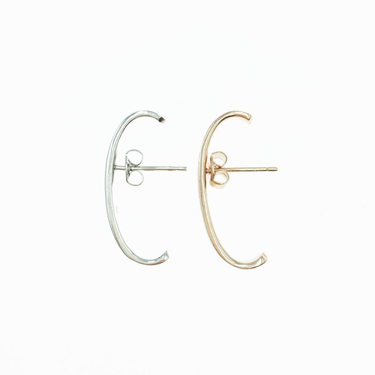 韓國 925純銀 線條感 C環圈 歐美金屬風 2色 耳針式耳環