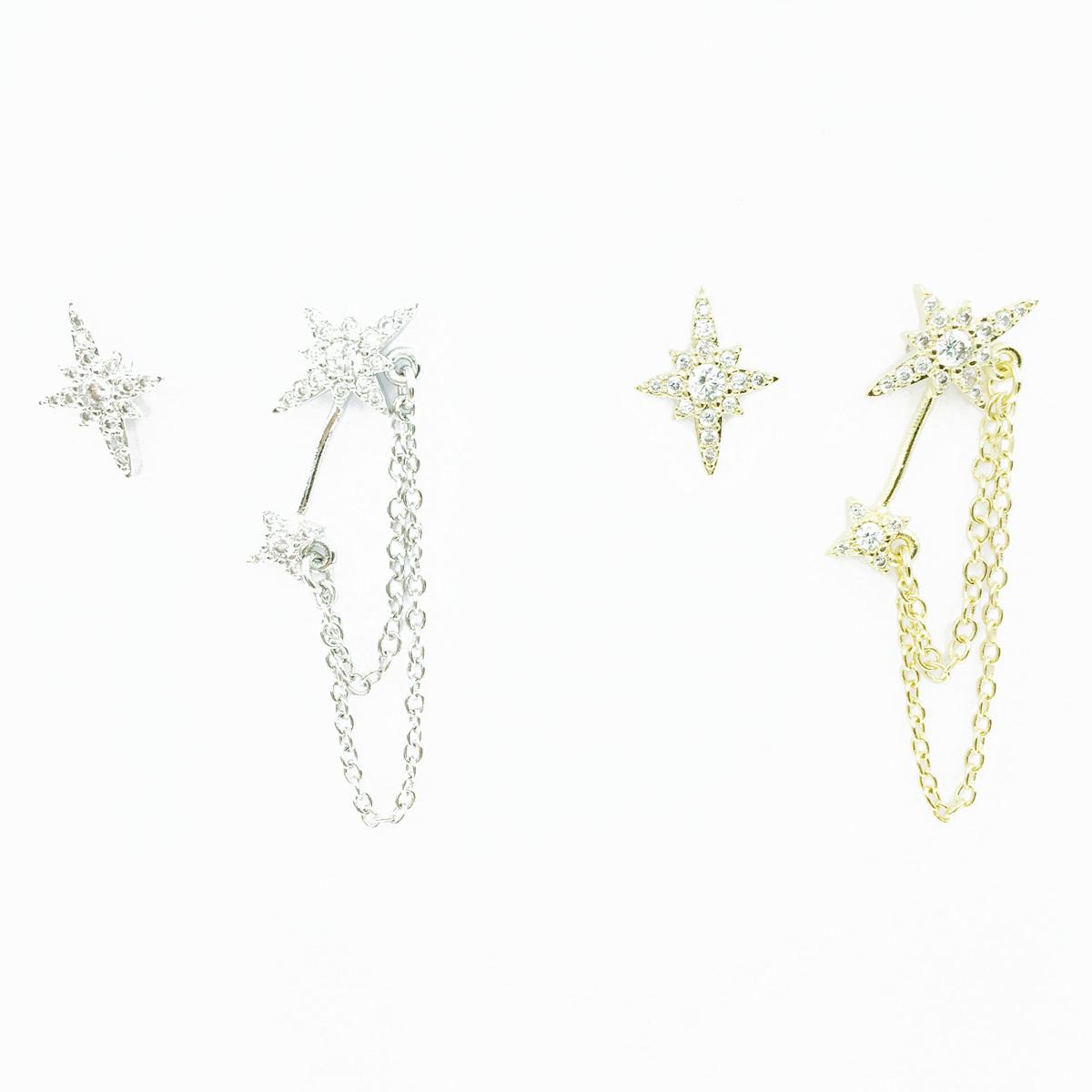 韓國 925純銀 星芒 水鑽 不對稱 垂墜金屬鍊 2色 耳針式耳環