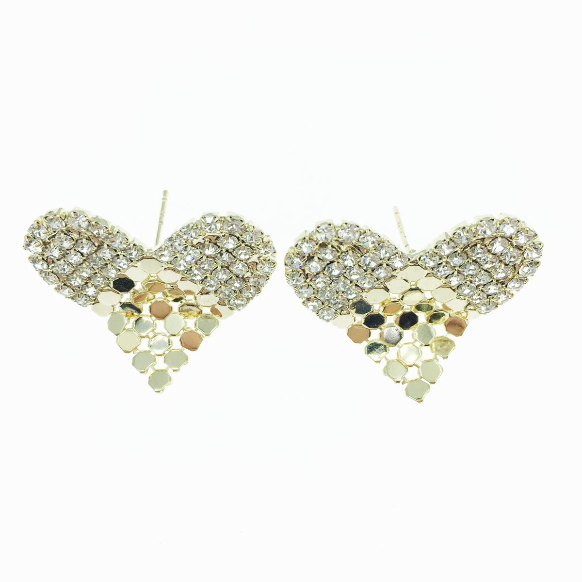 韓國 925純銀 愛心 水鑽 金屬圓片 甜美款 耳針式耳環