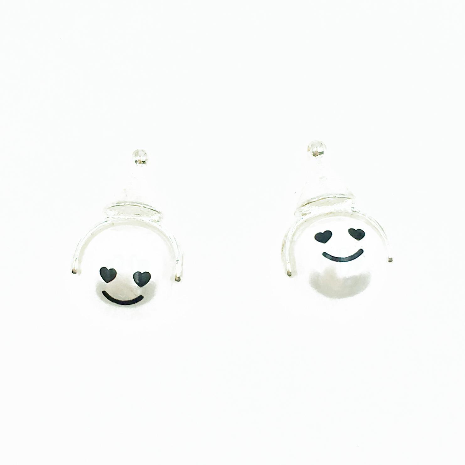韓國 925純銀 珍珠 可愛笑臉 帽子 耳針式耳環