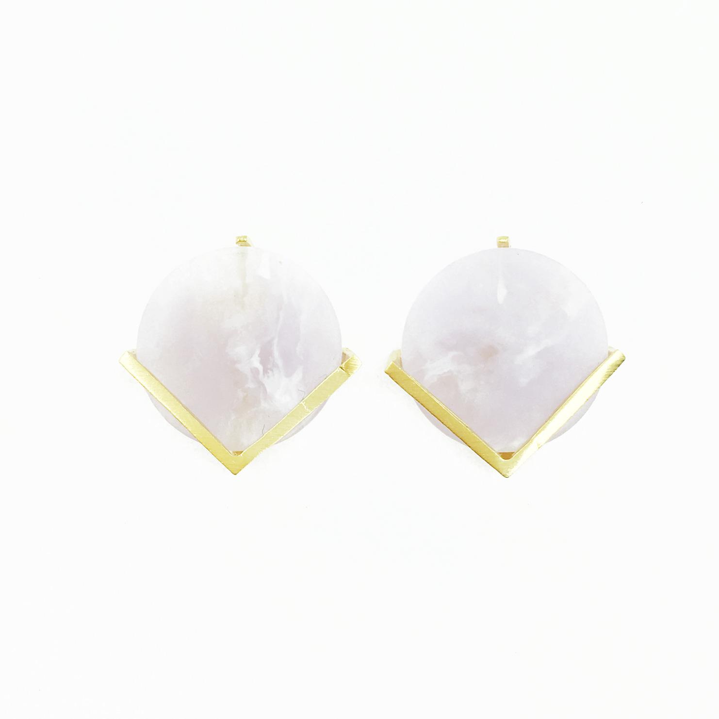 韓國 925純銀 圓形 大理石 金色V 耳針式耳環