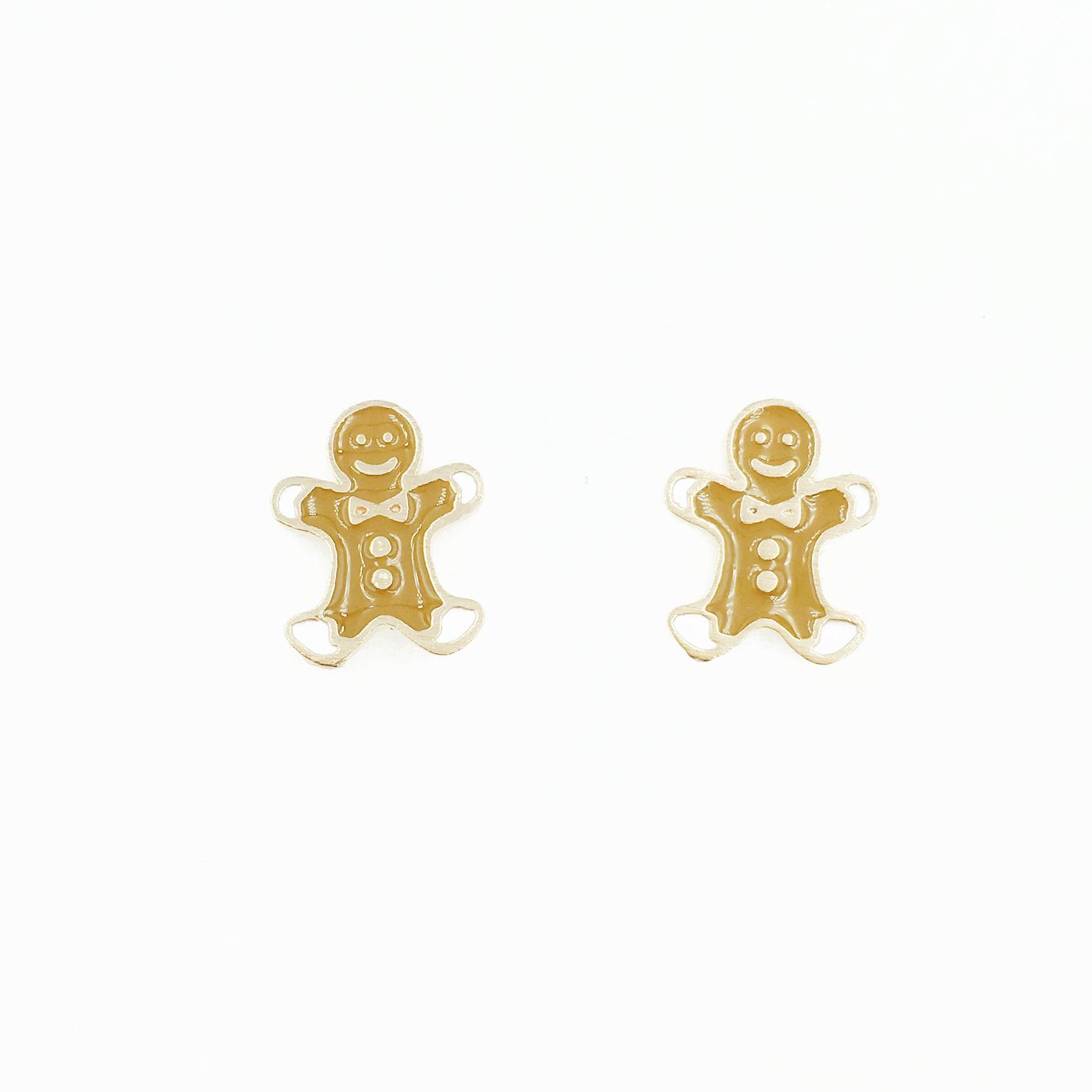 韓國 925純銀 薑餅人 可愛風 耳針式耳環