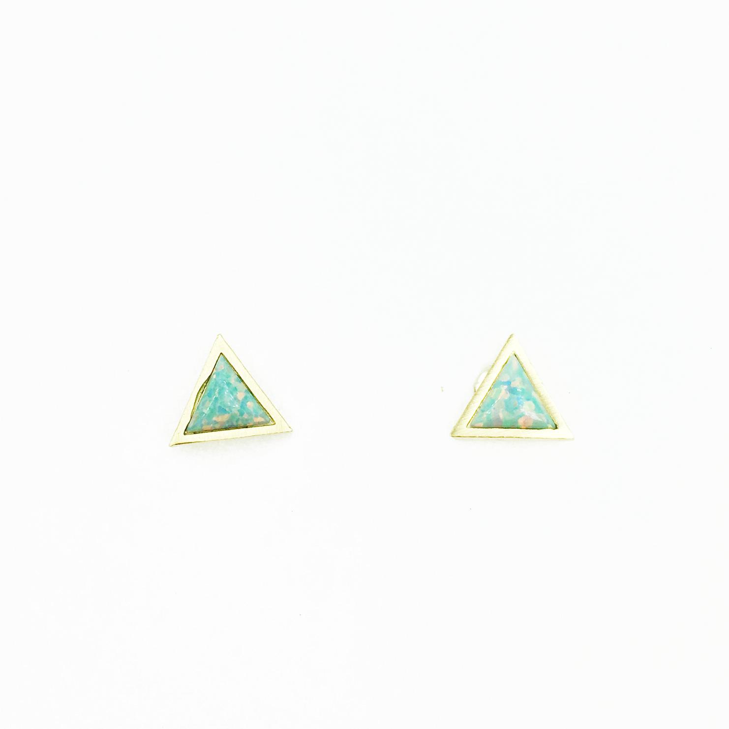 韓國 925純銀 三角形 金 簡約百搭 耳針式耳環