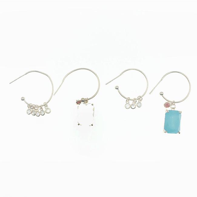 韓國 925純銀 不對稱 水鑽 爪鑽 玫瑰金 C環圈 垂墜感 耳針式耳環