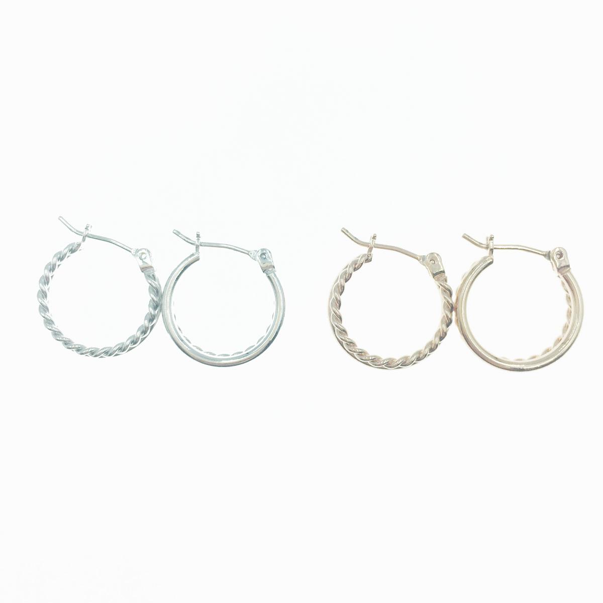 韓國 925純銀 螺旋雙環圈 圓圈 圈圈 簡約款 2色 耳針式耳環