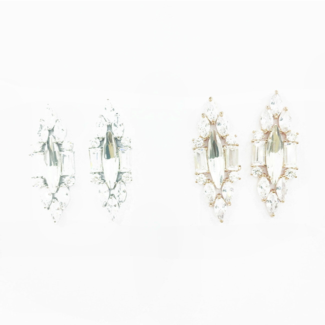 韓國 925純銀 水鑽 菱形造型 優雅高貴 精緻 耳針式耳環