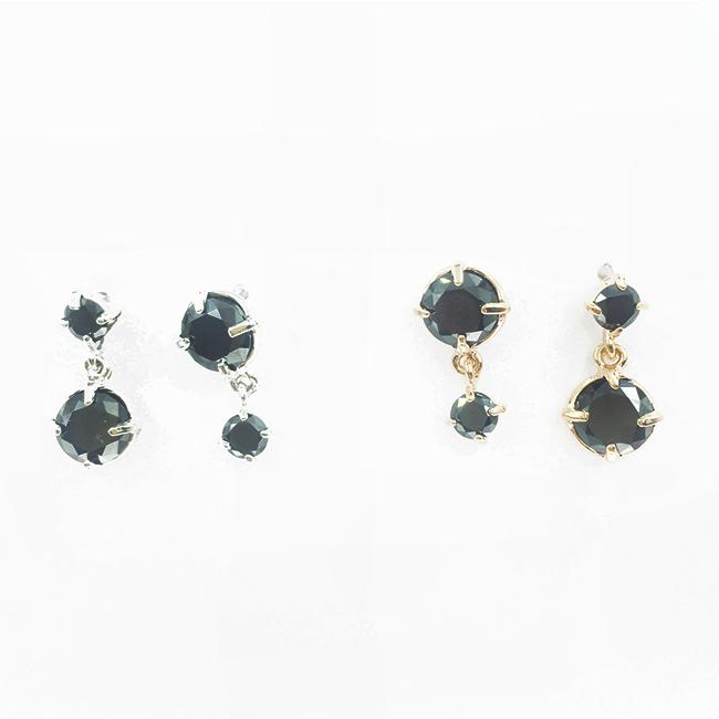 韓國 925純銀 爪鑽 水鑽 黑 玫瑰金 垂墜感 耳針式耳環