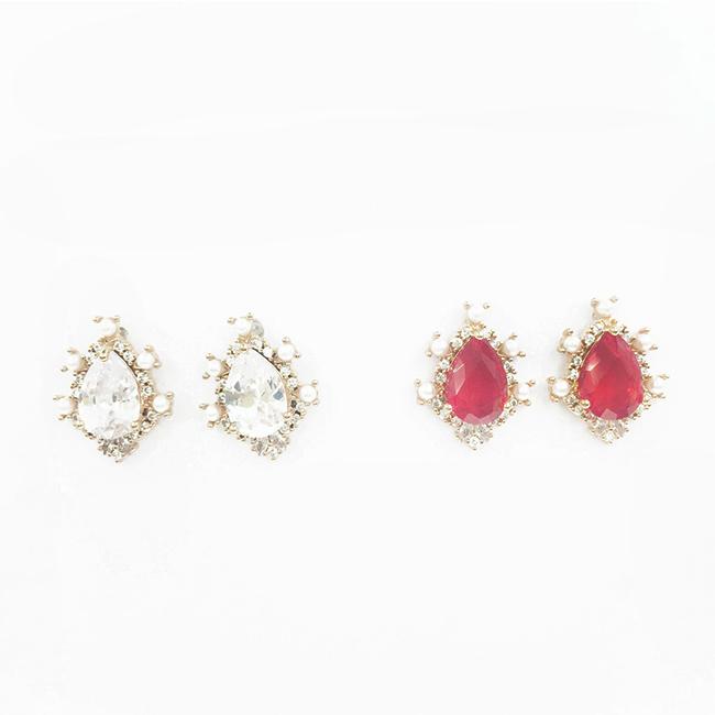 韓國 925純銀 水滴水鑽 珍珠 玫瑰金 2色 耳針式耳環