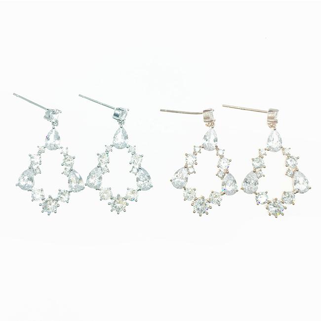 韓國 925純銀 簍空菱形 水滴 水鑽 2色 垂墜感 耳針式耳環