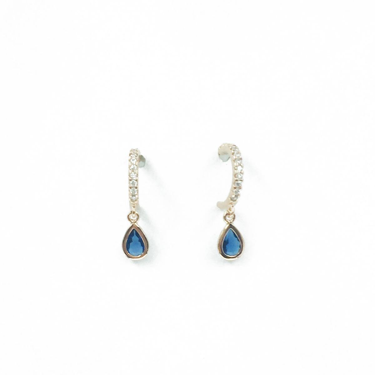 韓國 925純銀 C環圈 水鑽 水滴造型 垂墜感 耳針式耳環