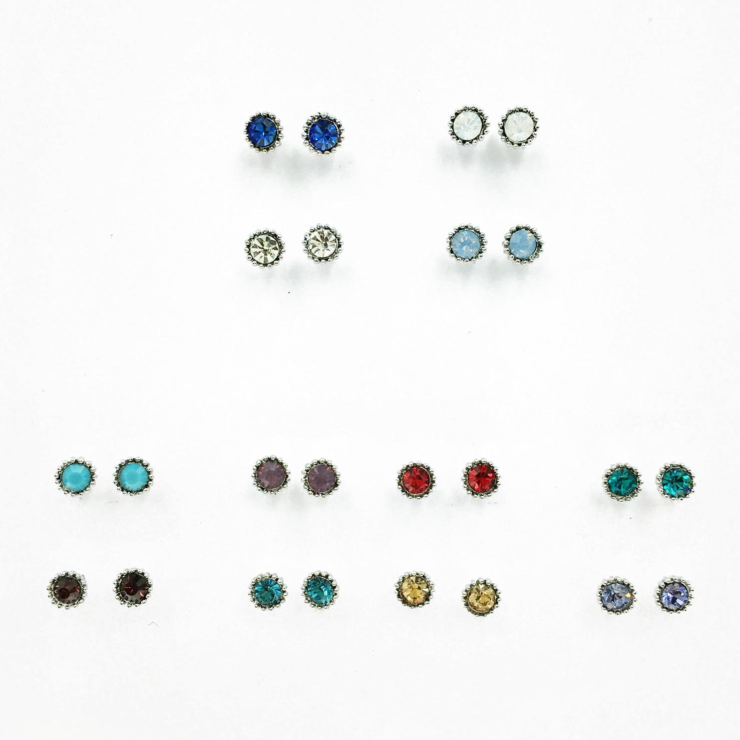 韓國 925純銀 單鑽 水鑽 一卡多入 四色 簡約百搭款 耳針式耳環