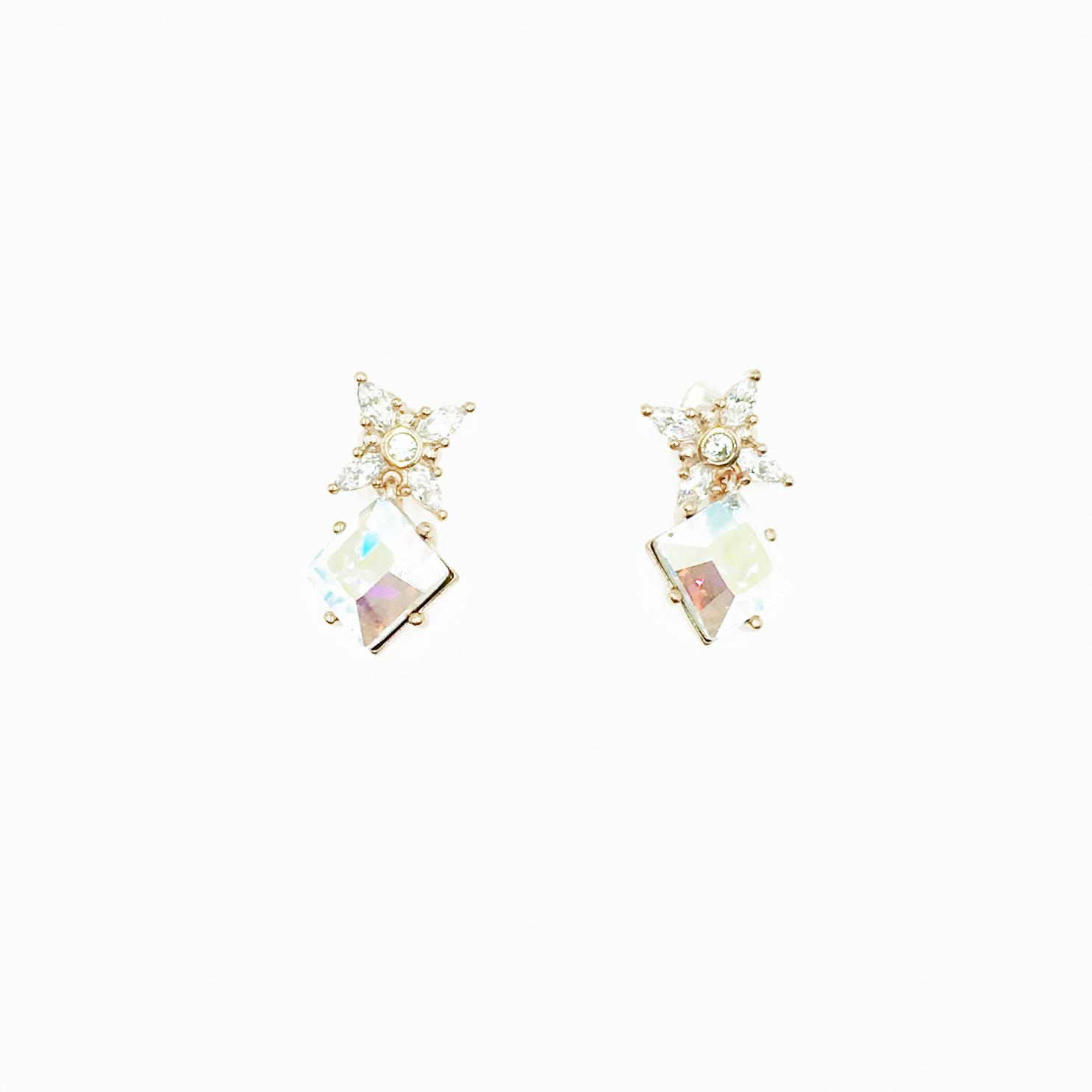 韓國 925純銀 施華洛世奇水鑽 菱形雷射切割面 玫瑰金 垂墜感 耳針式耳環