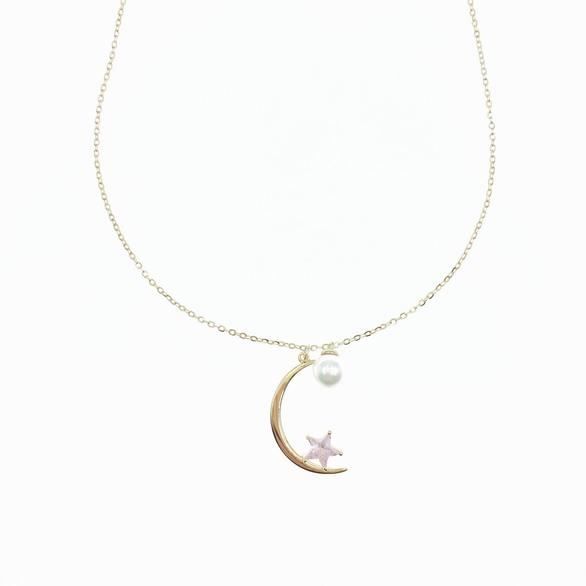 韓國 925純銀 月亮 水鑽星星 珍珠 墜飾 玫瑰金 項鍊