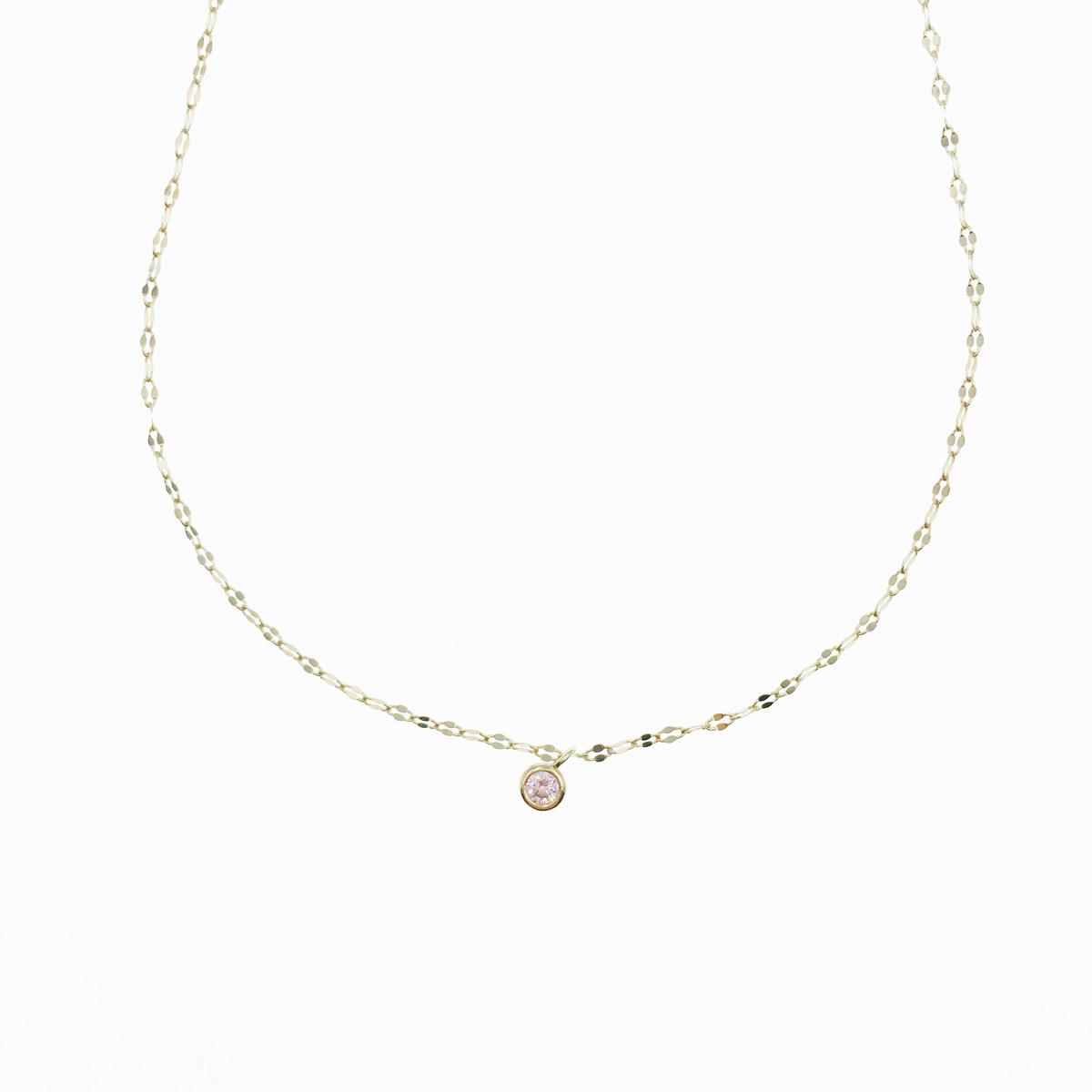 韓國 925純銀 單鑽 粉鑽 玫瑰金 質感項鍊