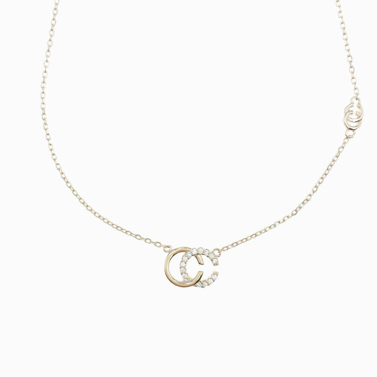 韓國 925純銀 雙C 水鑽 玫瑰金 質感項鍊