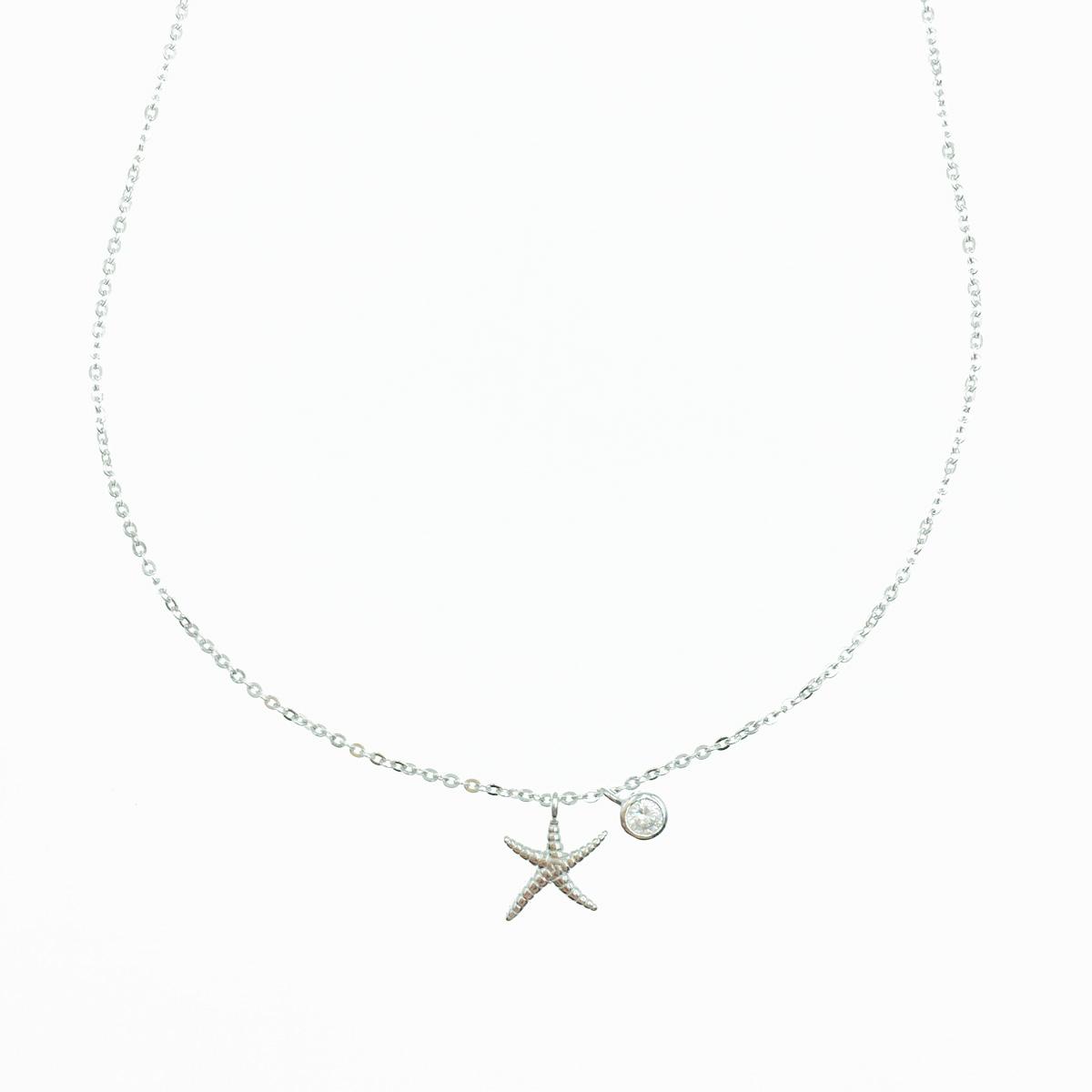 韓國 925純銀 海星 水鑽 墜飾 質感項鍊