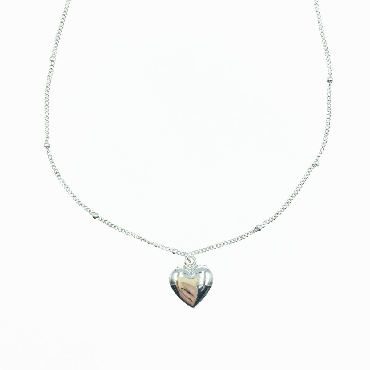 韓國 925純銀 愛心 小銀珠 金屬風 可愛甜美 項鍊