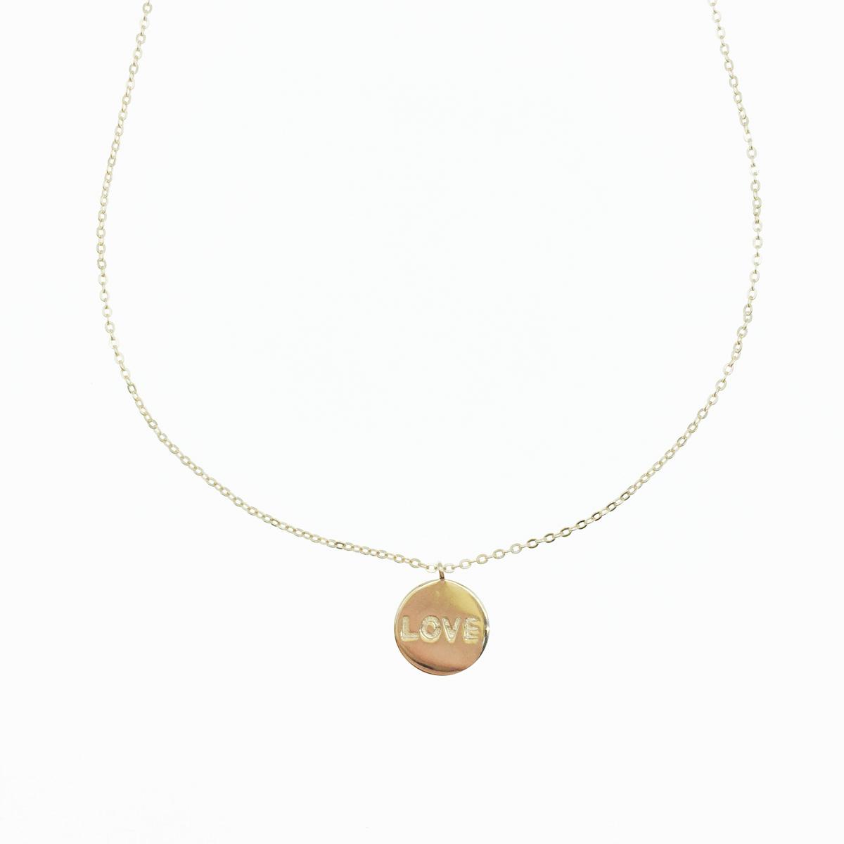 韓國 925純銀 英文字母 LOVE 圓吊牌 玫瑰金 項鍊