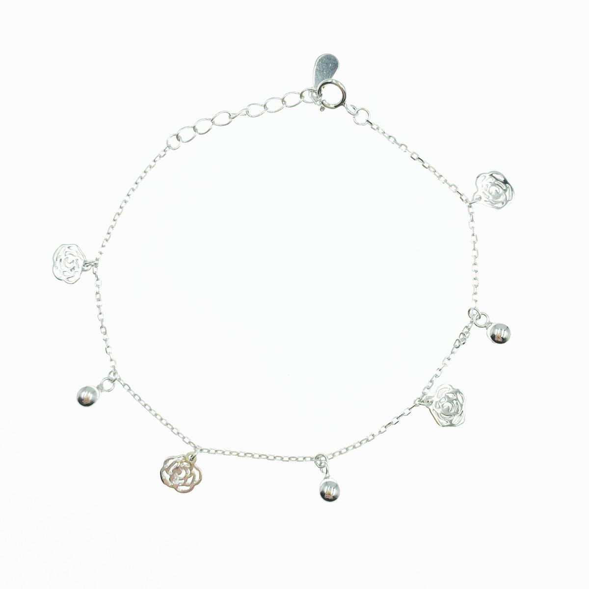 韓國 925純銀 簍空花 金屬珠珠 手飾 手鍊