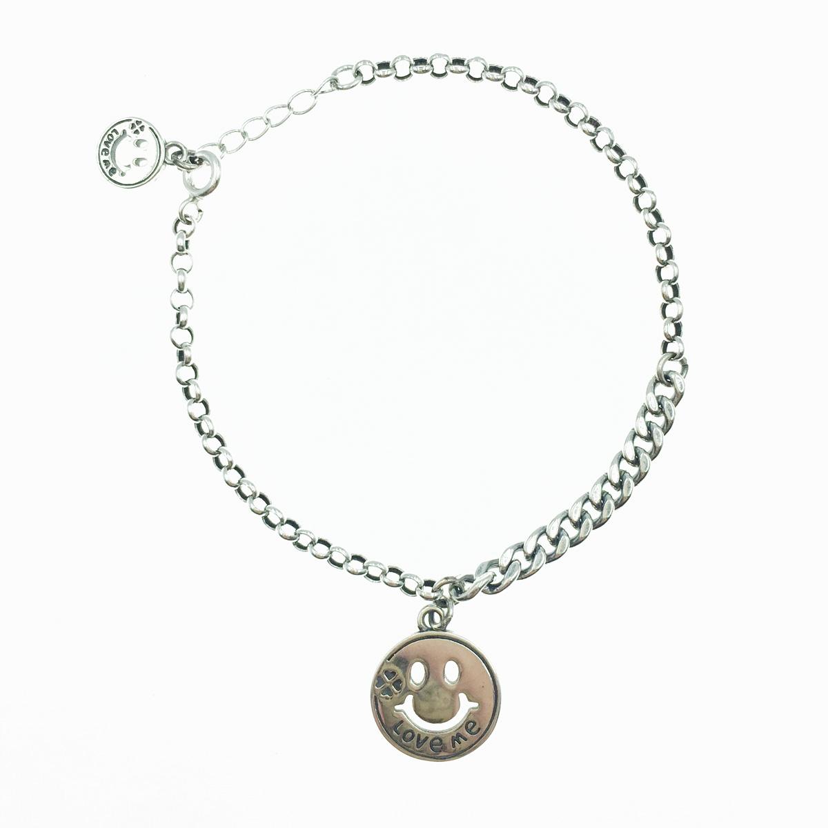 韓國 925純銀 笑臉 歐美金屬風 手飾 手鍊