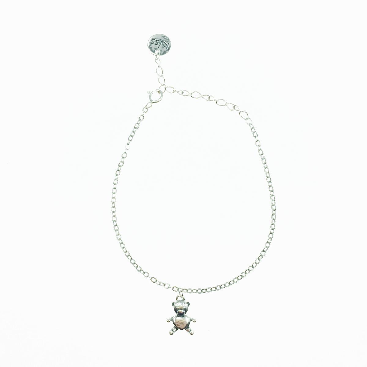 韓國 925純銀 可愛小熊 金屬圓吊牌 手飾 手鍊