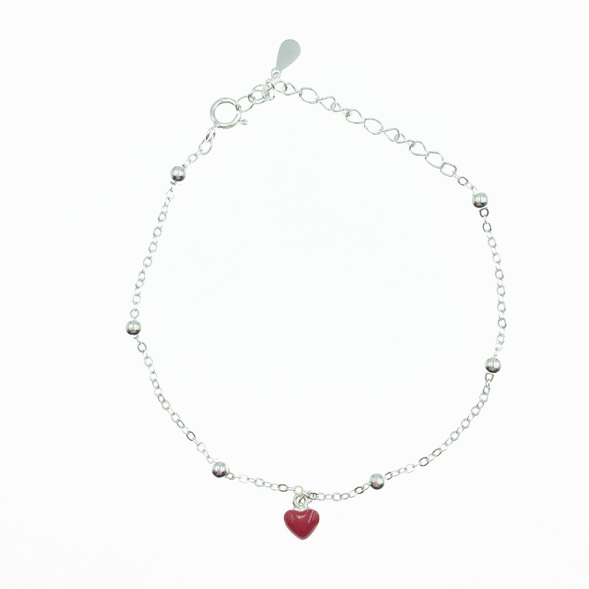 韓國 925純銀 紅愛心 金屬小珠珠 手飾 手鍊