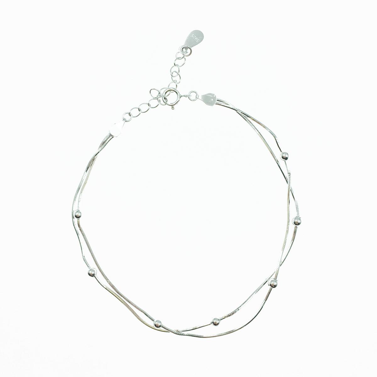 韓國 925純銀 金屬小銀珠 雙層 簡約百搭 手飾 手鍊