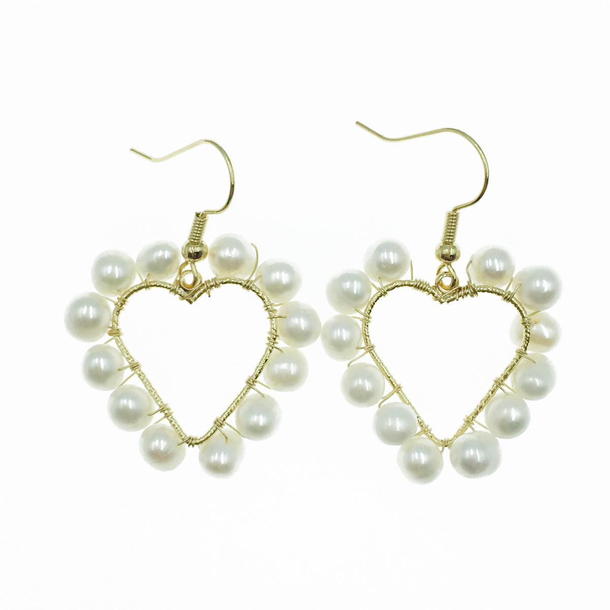 韓國 925純銀 簍空愛心 珍珠 氣質甜美 垂墜感 耳勾式耳環