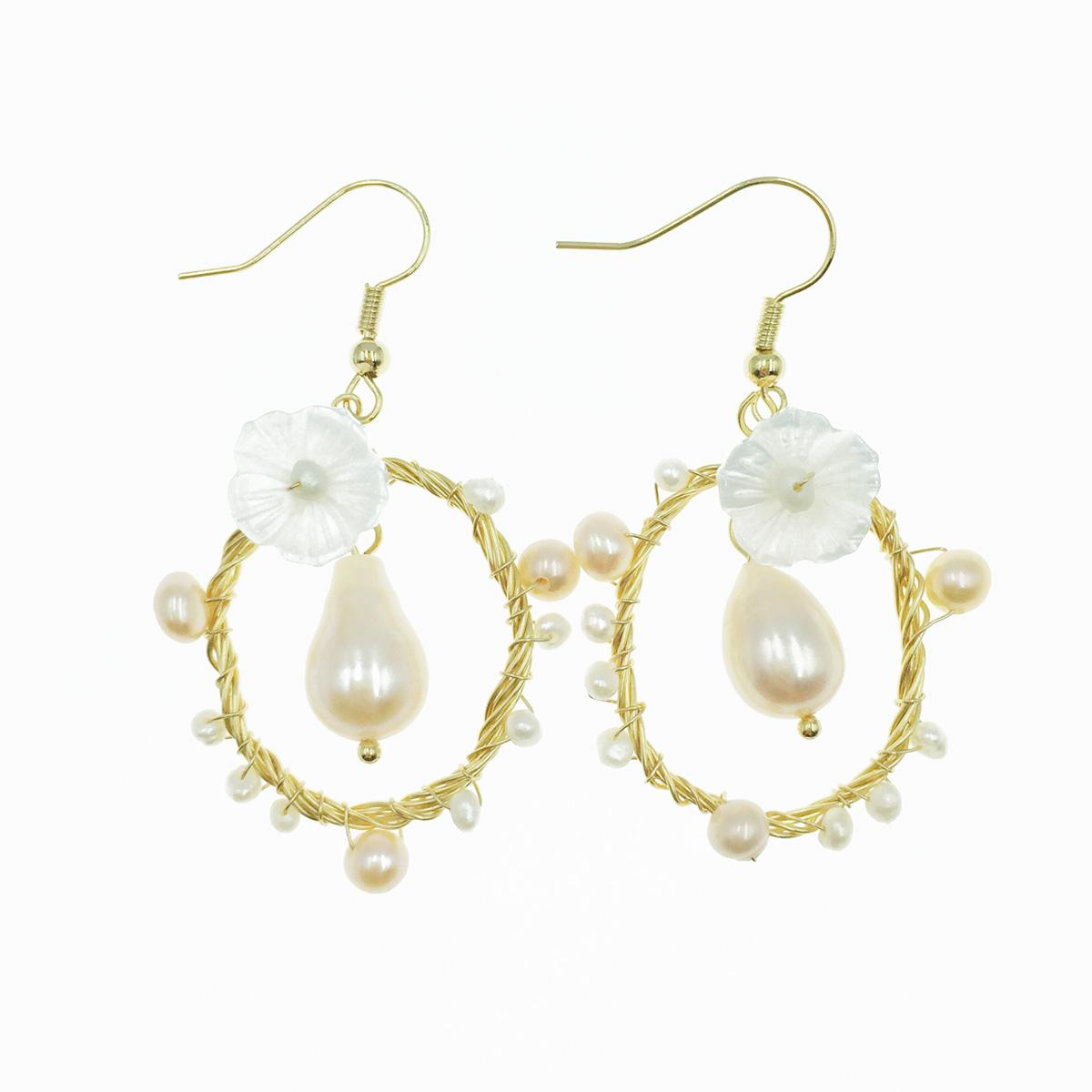 韓國 925純銀 小白花 珍珠 金線圓圈 垂墜感 耳勾式耳環