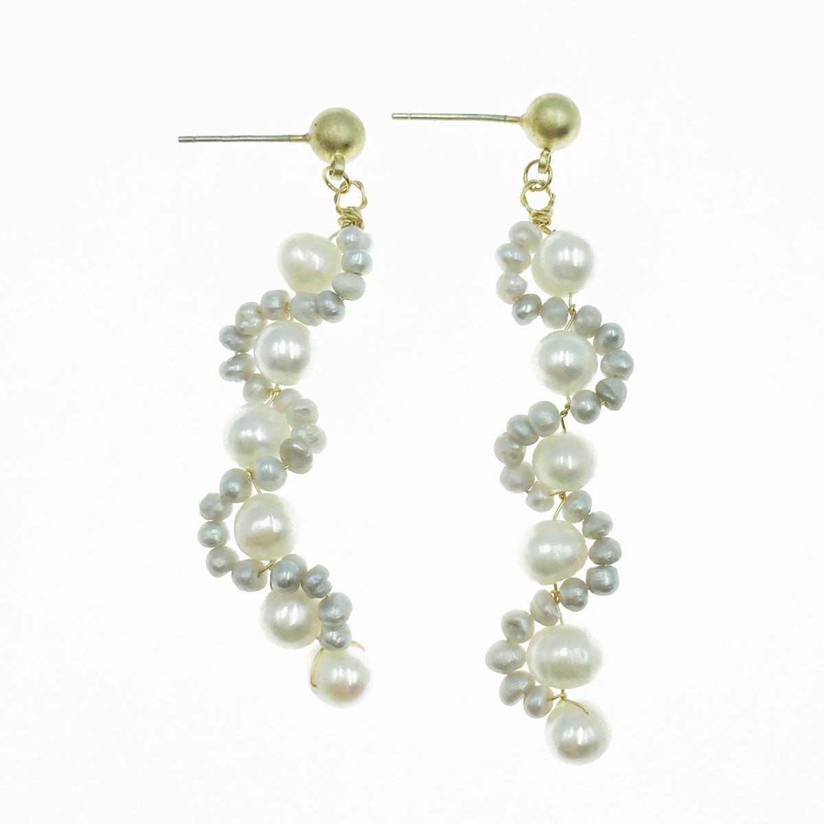 韓國 925純銀 珍珠 波動曲線 垂墜感 耳針式耳環