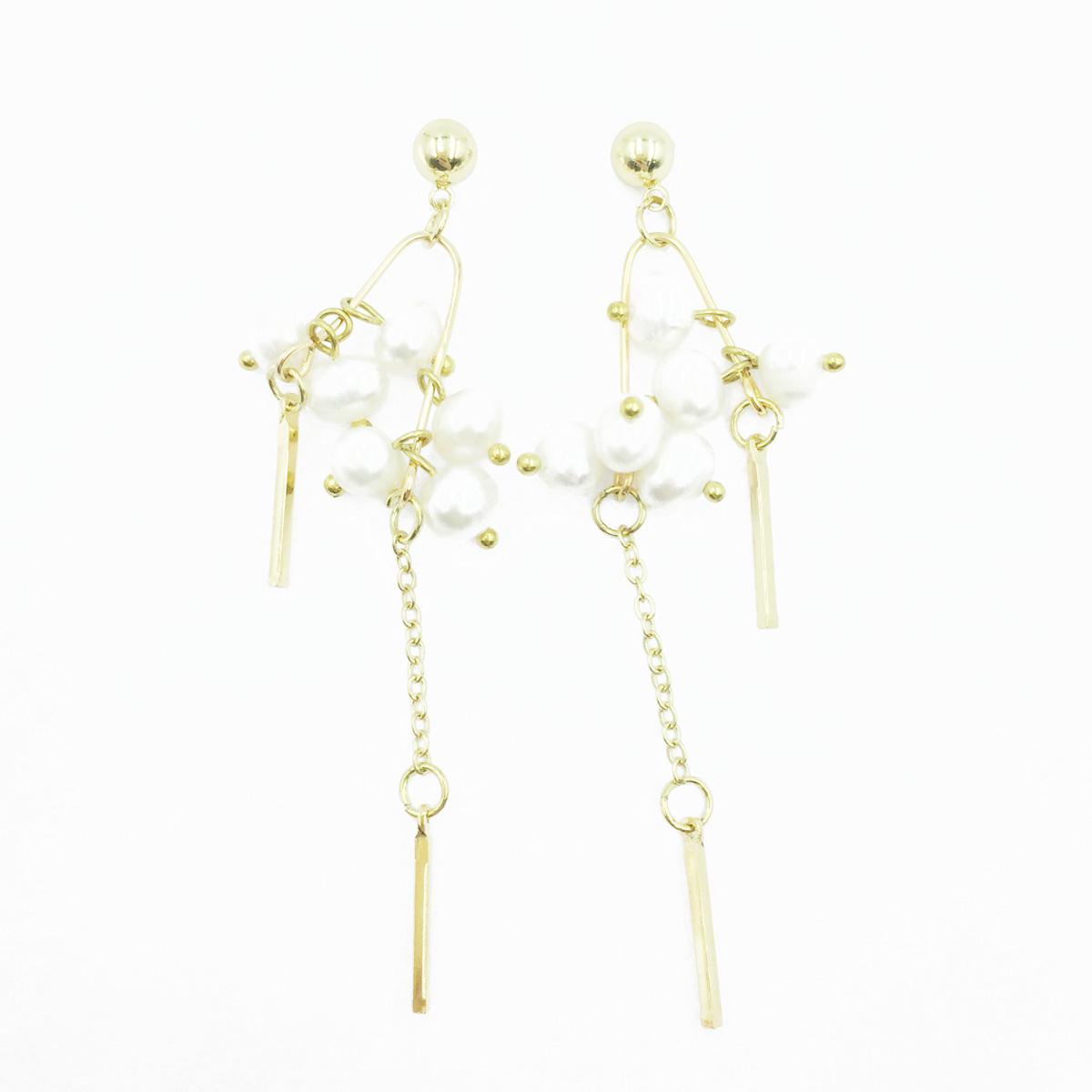 韓國 925純銀 珍珠 金屬條 小金珠 垂墜感 耳針式耳環