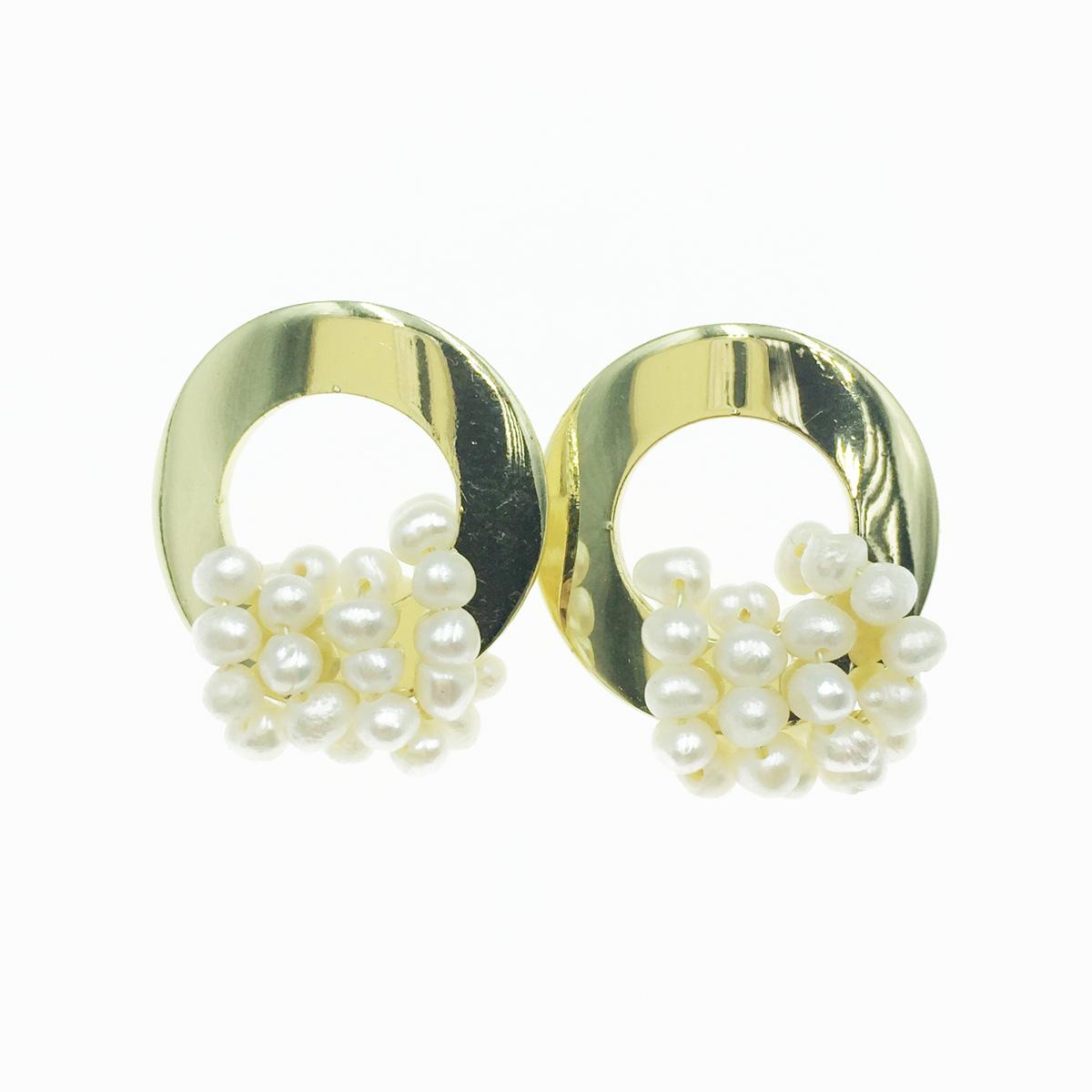 韓國 925純銀 簍空金圓圈 氣質珍珠 精緻 耳針式耳環