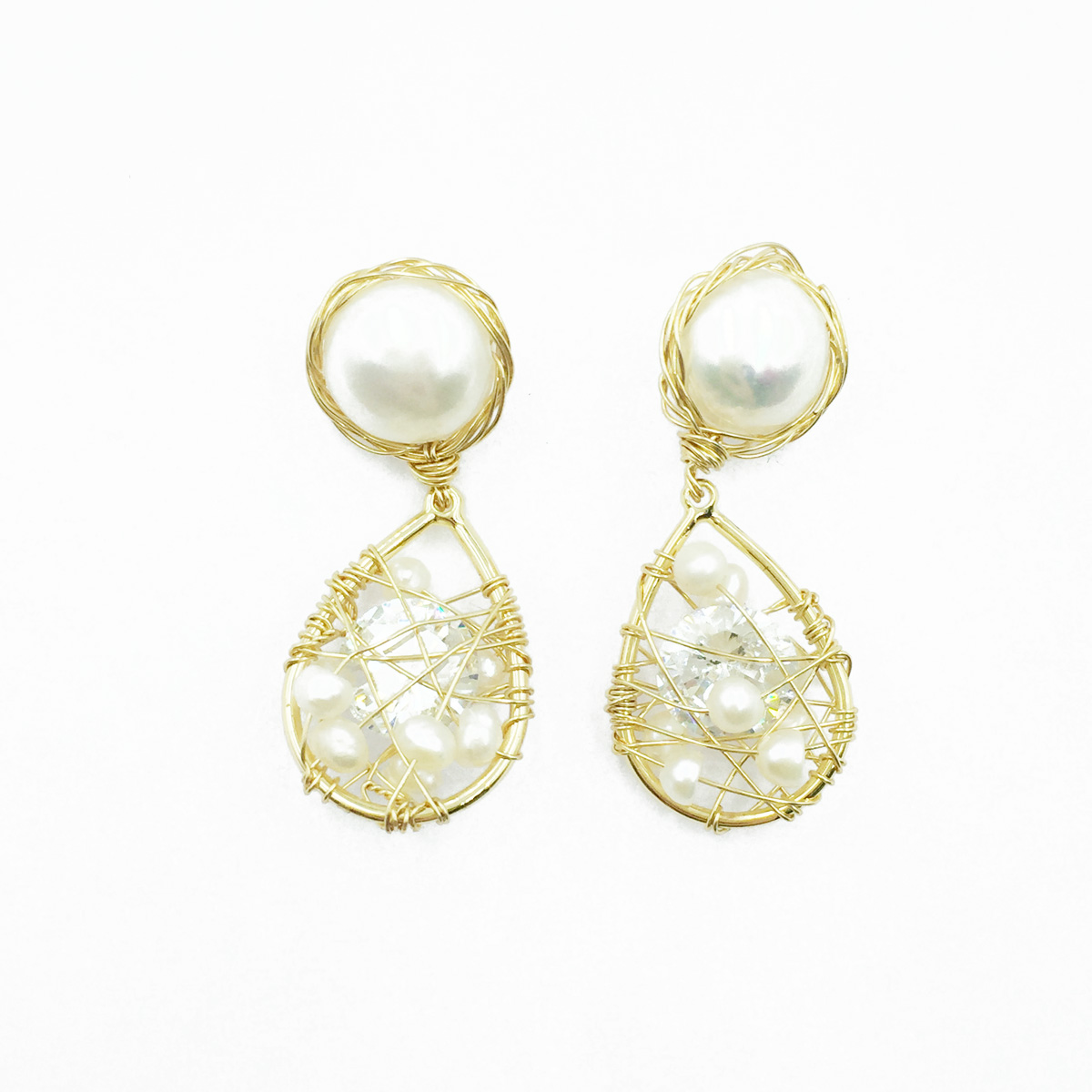 韓國 925純銀 水滴造型 金線 水鑽 珍珠 垂墜感 耳針式耳環