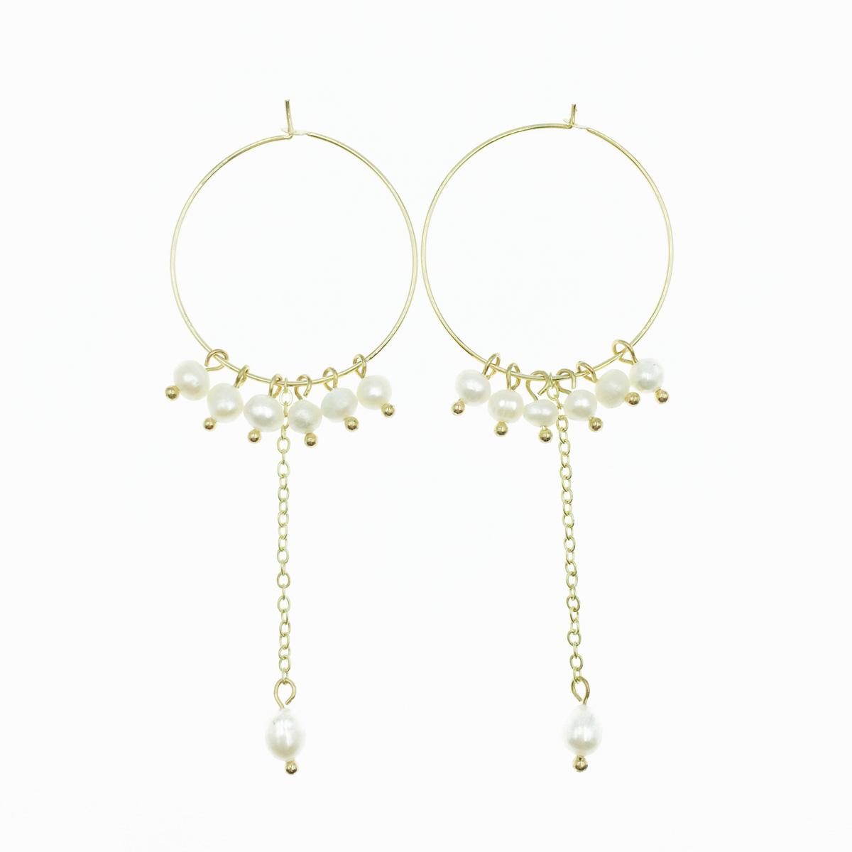 韓國 925純銀 圓圈 圈圈 金 珍珠 垂墜感 耳針式耳環