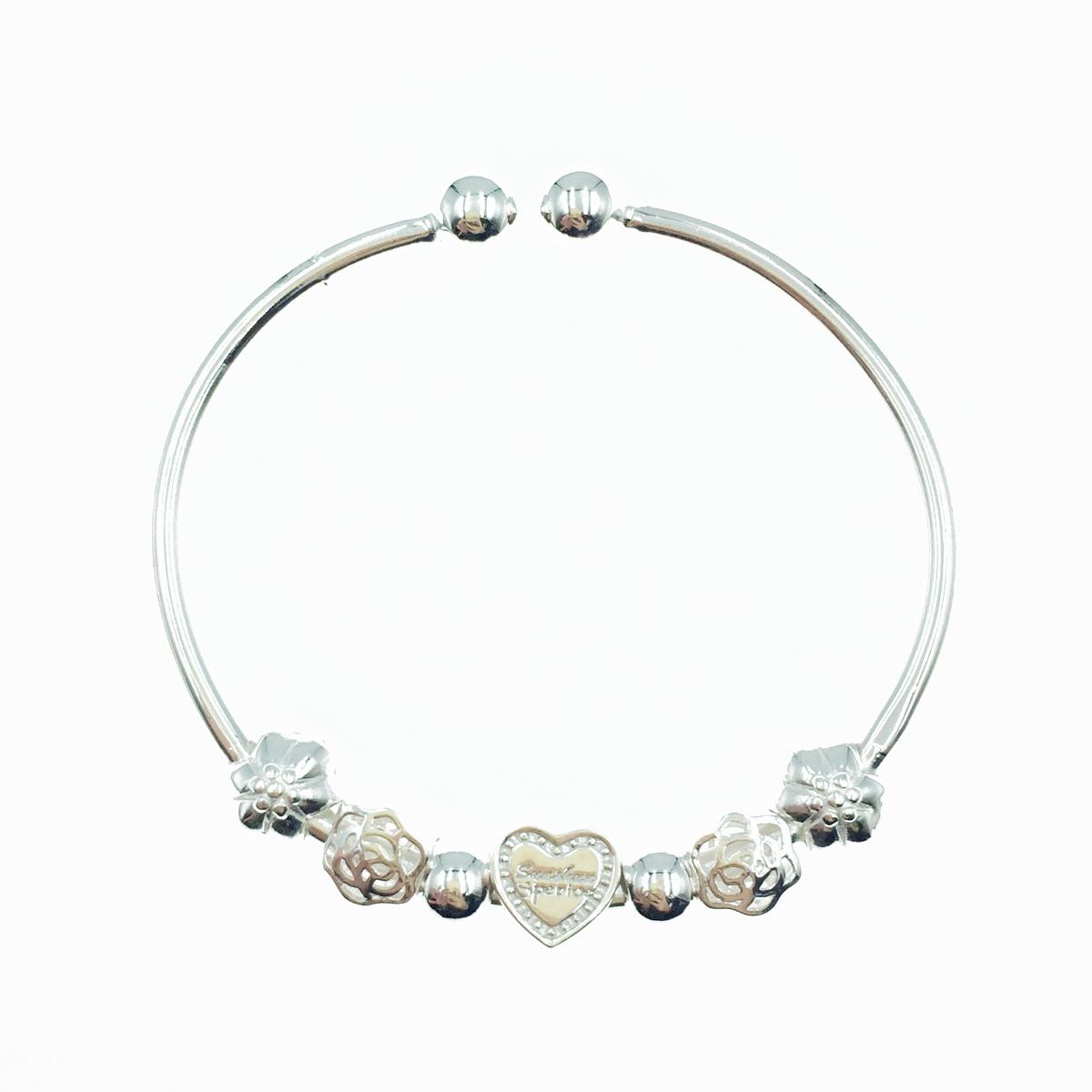韓國 925純銀 愛心 花 金屬質感 手環