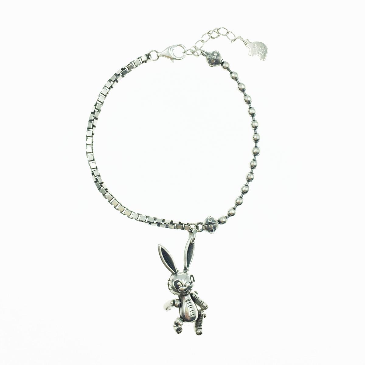 韓國 925純銀 兔子 墜飾 歐美金屬風 手鍊