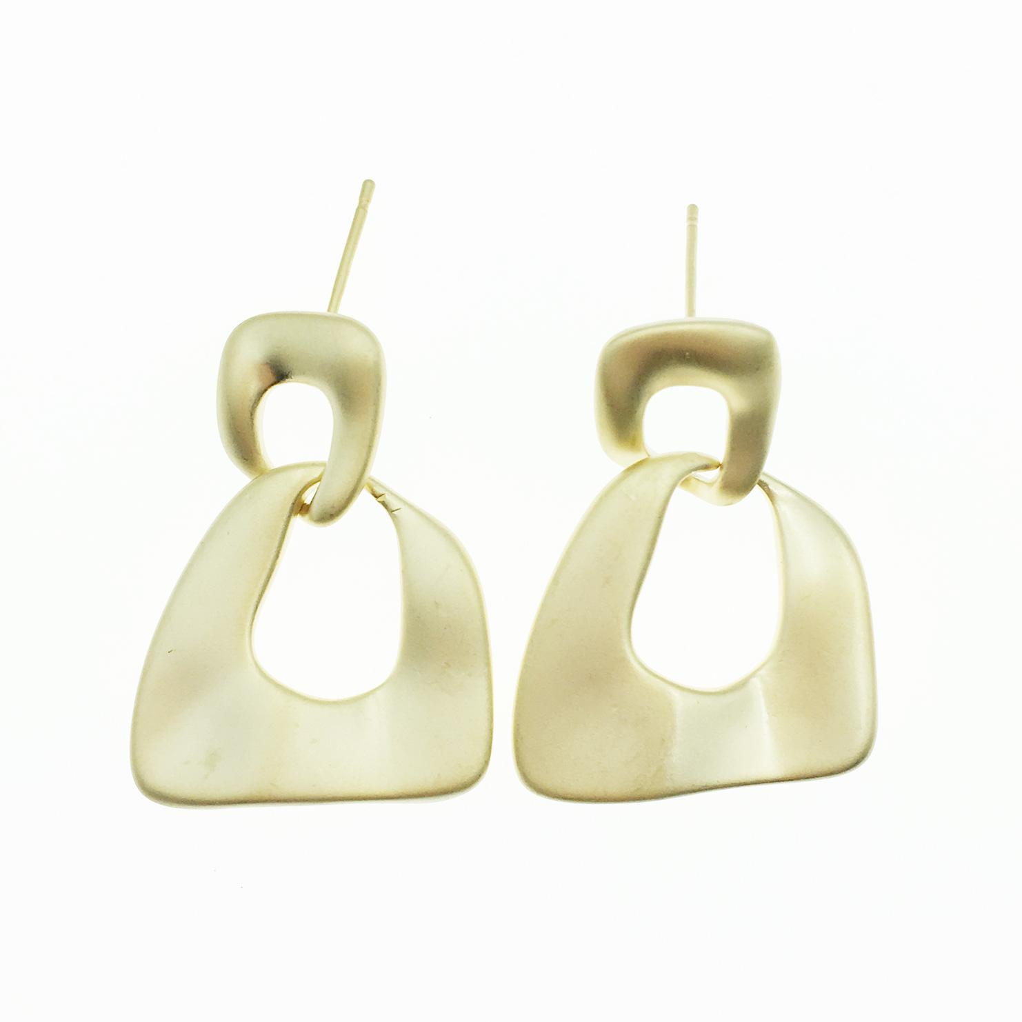 韓國 925純銀 不規則形 簍空 霧金 歐美金屬風 垂墜感 耳針式耳環