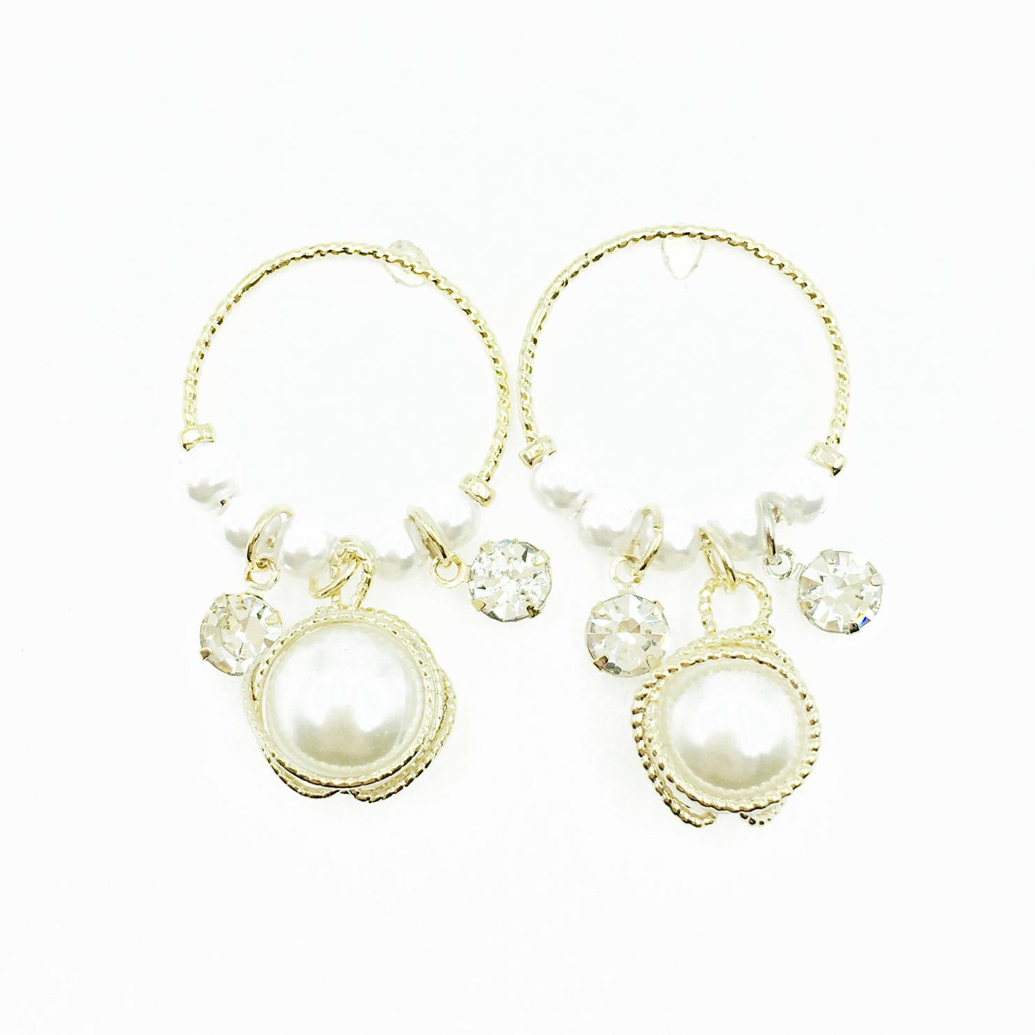 韓國 925純銀 簍空圓 金線圈 水鑽 珍珠 垂墜感 耳針式耳環