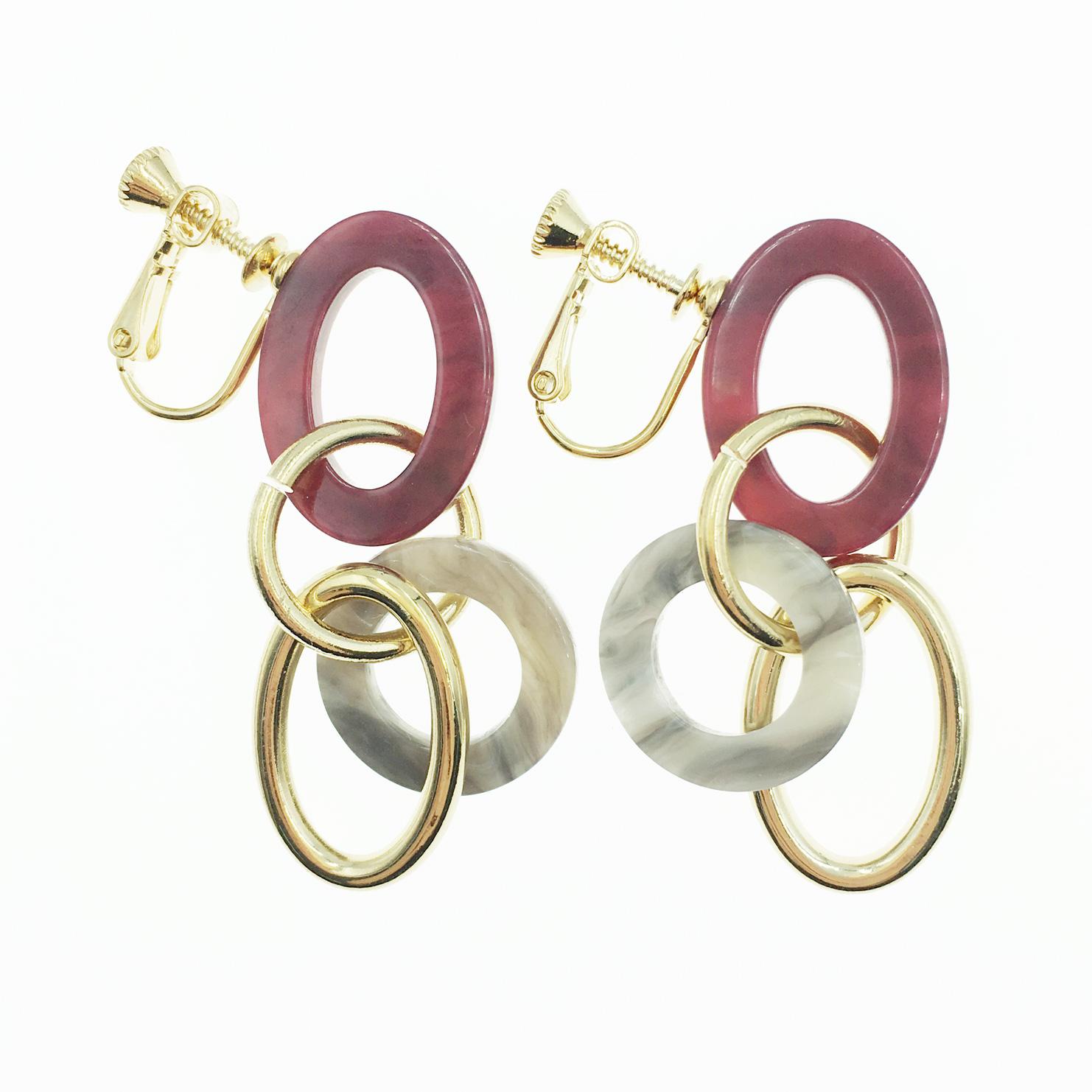 韓國 大理石 簍空圓圈 圈圈 垂墜感 夾式耳環