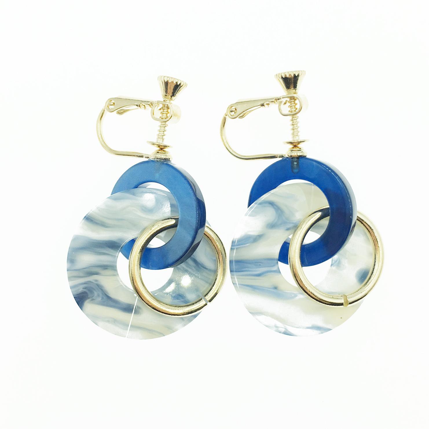 韓國 簍空圈圈 圓圈 大理石 垂墜感 夾式耳環