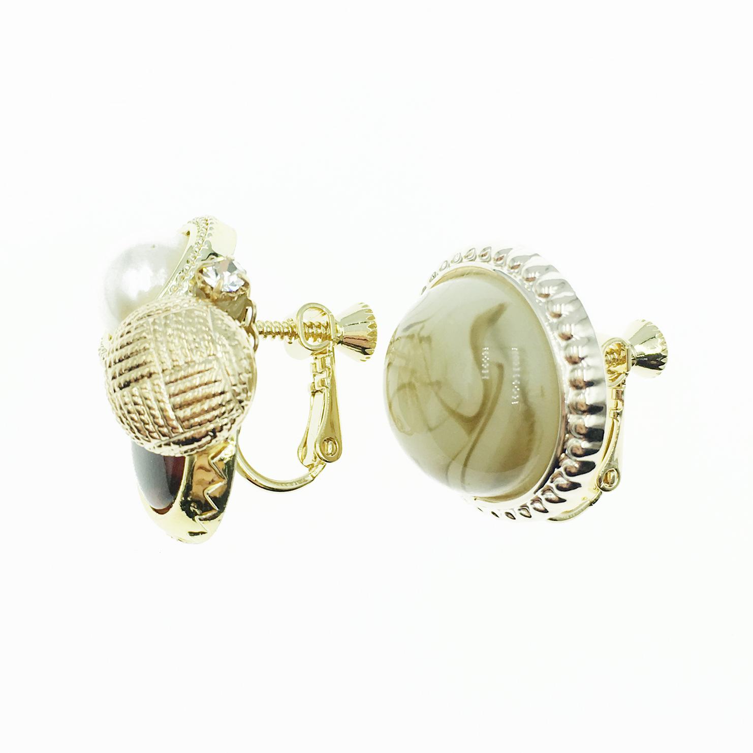 韓國 不對稱造型 珍珠 水鑽 夾式耳環